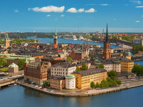 Panoramic view on the Old City of Stocholm, classical skyline; GPS information is in the file - p60 f2 bis - fotografo: SergiyN - Fotolia